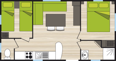 Plan mobil-home 6 personnes 2 chambres
